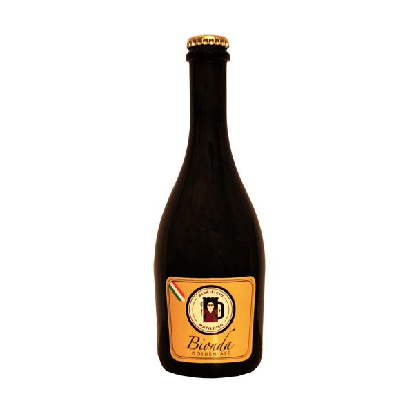 Birra bionda artigianale non pastorizzata non filtrata maturata in bottiglia