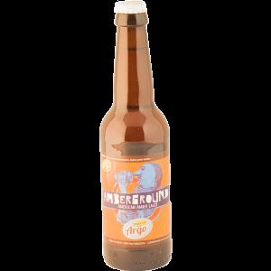 Bottiglia di birra lager artigianale Amberground del birrificio Argo